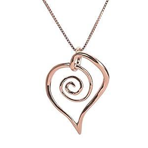 Freeform Spiral Heart Pendant Necklace