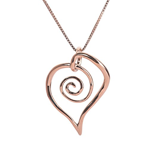 Freeform Ring (Loving Family Rose Gold Plated Sterling Silver Freeform Spiral Heart Pendant Necklace - 18