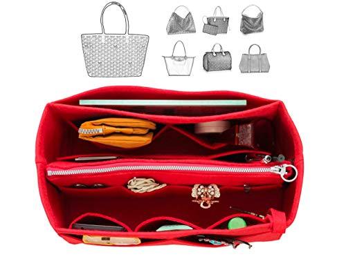 [Fits Tory.Burch Bags] Felt Tote Organizer (w/Detachable Zipper Bag), Bag in Bag, Wool Purse Insert, Customized Tote Organize, Cosmetic Makeup Diaper Handbag (Block Handbag)