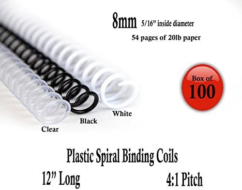 Black Spiral Coil Binding Spines 9mm 11//32 x 12 pk of 100 4:1