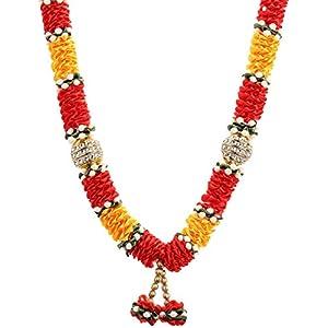 Decoration Craft Satin Garland (35 cm+Ribbon, Red & Orange) 83