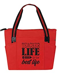 Teacher Life is the Best Life - Large Zippered Teacher Tote Bags with Pockets - Perfect for Work, Gifts for Teachers, Teacher Appreciaiton Day (Teacher Life Best Life Red)