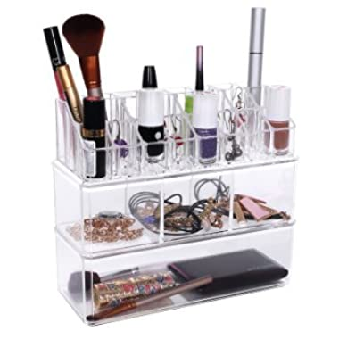 SONGMICS Makeup Organizer Cosmetic Storage Jewelry Chest Display Boxe 3 Pieces Set UJMU05T