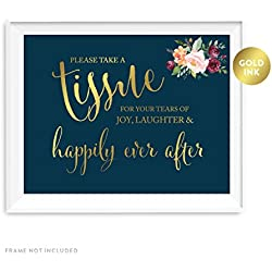 Andaz Press Wedding Party Signs, Navy Blue Burgundy Florals with Metallic Gold Ink, 8.5x11-inch, Please Take A Tissue for Your Tears of Joy, Laughter, Happily Ever After, 1-Pack, Colored Decorations