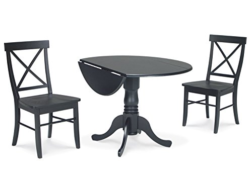 International Concepts 3-Piece 42-Inch Dual Drop Leaf Pedestal Table with 2 X-Back Chairs, Black Finish -