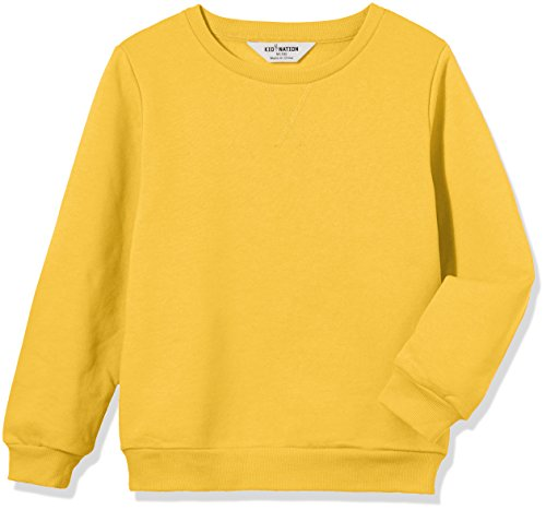 Kid Nation Kids' Slouchy Solid Brushed Fleece Sweatshirt for Boys Girls XL Yellow ()