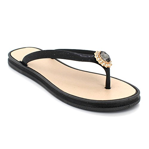 Womens Ladies Toe Post Evening Casual Flat Diamante Soft Summer Lightweight Slipper Sandals Shoes Size Black htj2LXrZ
