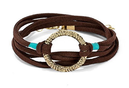 New! Handmade 3 Wrap Antique Gold Circle Brown Suede with Teal Accent Leather Bracelet with Adjustment Chain | SPUNKYsoul Collection by SPUNKYsoul