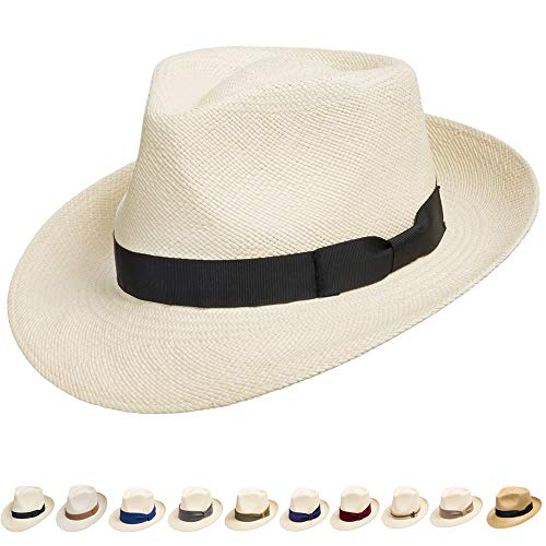 (Ultrafino Genuine Havana Retro Panama Straw Hat Classic Lightweight 7 1/4)