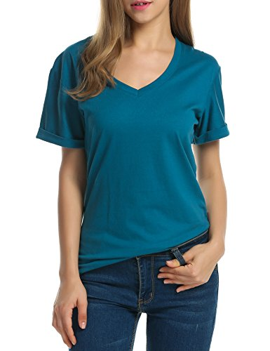 Meaneor Women Solid Comfy Loose Fit Roll Over Short Sleeve V Neck Lightweight Top Tee – Small, Teal