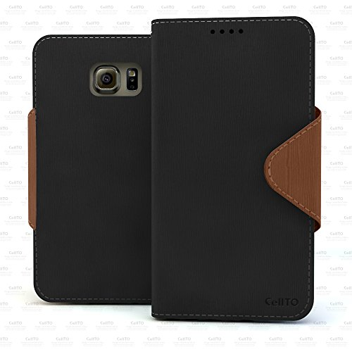 Galaxy S6 Case - Cellto Premium Wallet with HD Screen Protector [Dual Magnetic Flap] Diary Cover /w ID Pocket Top Quality & Stand in Multiple Angles + Life Time Warranty - Black / Brown