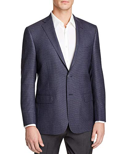 (Hart Schaffner Marx Mens New York Worsted Wool Check Sportcoat 42L Navy)