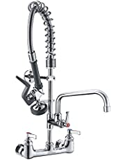 """IMLEZON Commercial Wall Mount Kitchen Sink Faucet Brass Constructed Polished Chrome Pre-Rinse Device 25"""" Height 8"""" Center with Coilded Spring Pull Down Sprayer and 12"""" Add-on Spout"""