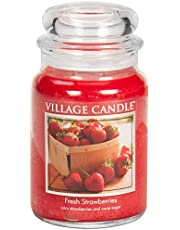Village Candle Fresh Strawberries 26 oz Glass Jar Scented Candle, Large