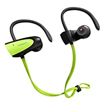 Bluetooth Headphones, SIGN V4.2 Wireless Stereo IPX5 Waterproof Sport Bluetooth Headset, In Ear Bass Bluetooth Earphone with Mic for iPhone 7/6S/6 & Android Smartphones and more (Green) - Fozento