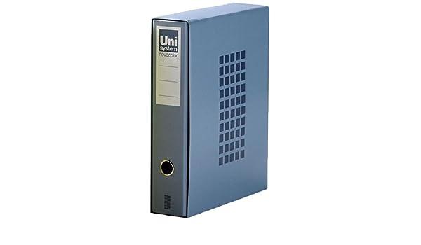 Unisystem 929733 - Caja de con un archivador, tipo folio, color azul: Amazon.es: Oficina y papelería
