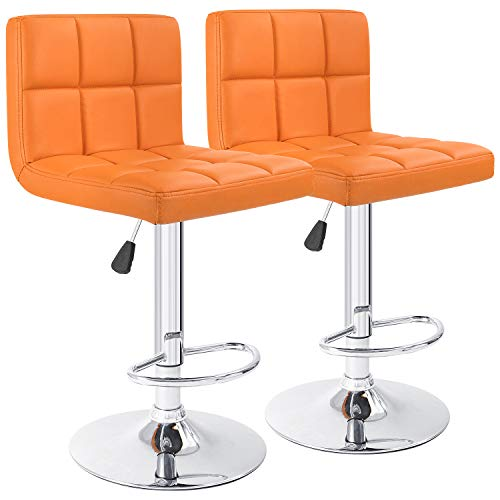Furmax Bar Stools Modern Pu Leather Swivel Adjustable Hydraulic Bar Stool Square Counter Height Stool Set of 2 (Orange)