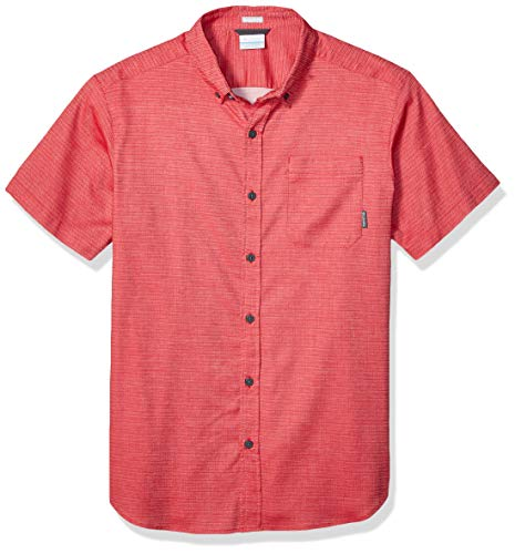 Columbia Men's Rapid Rivers II Short Sleeve Shirt, Mountain red Stretch Dobby S