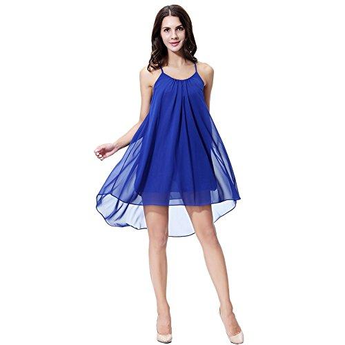 Slip Ruched Dress Sexy (Hengzhi Women's Sexy Backless Spaghetti Strap Semi-Transparent Chiffon Maxi Beach Slip Dress)