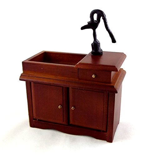 Dollhouse Walnut Victorian Sink Unit w Hand Pump Miniature Kitchen (Victorian Dollhouse Kitchen)