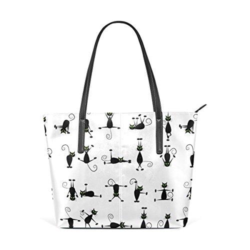 12dd5908d1b69 COOSUN Black Cats Pattern PU Leder Schultertasche Handtasche und Handtaschen  Tasche für Frauen
