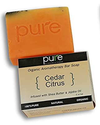 PURE Essential Oil Handmade Bath Soap Bar Set, 2-Pack. Cedar Citrus Artisan Face & Body Soap Gift for Men, Cold Process, Organic Soap Bars, Natural Cedar Citrus with Jojoba Oil