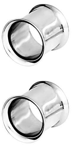 00G Surgical Grade Stainless Steel High Polish Gauged Earrings Double Flared Tunnel Plugs