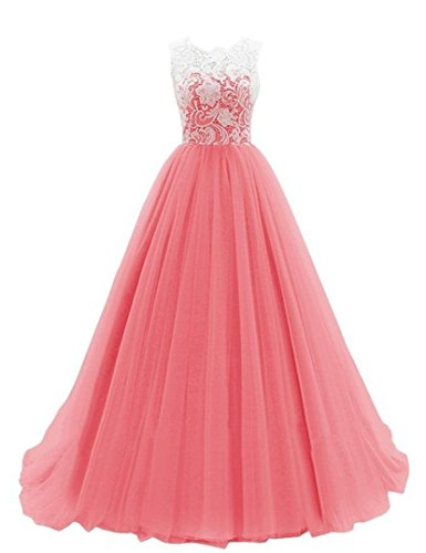 Jewel Prom A line Gown Lace Quiceanera Long Neck Dress Coral Dressyu Party Tulle AdFq1nOOw