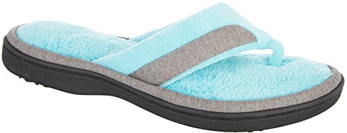 Isotoner Women's Microterry Mei Thong Blue Curacao X-Large 9.5-10