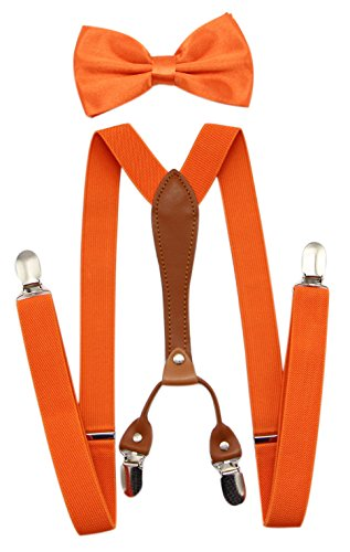JAIFEI Suspenders & Bowtie Set- Men's Elastic X Band Suspenders + Bowtie For Wedding, Formal Events (Orange)