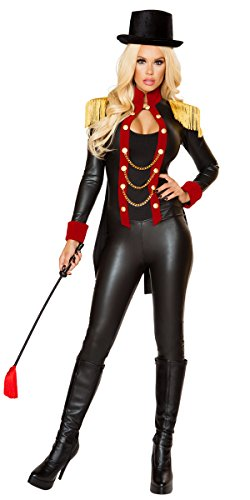 Ringmaster Tailcoat (Sexy Ringmistress Latex Catsuit Costume with Top Hat - Black/Red/Gold - M)