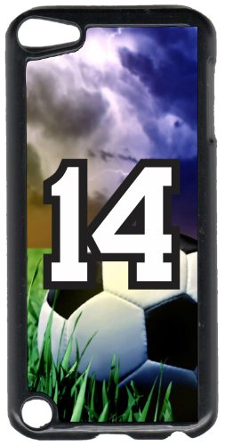 iPod Touch Case Fits 6th Generation or 5th Generation Soccer Ball #0100 Choose Any Player Jersey Number 14 in Black Plastic Customizable by TYD Designs ()