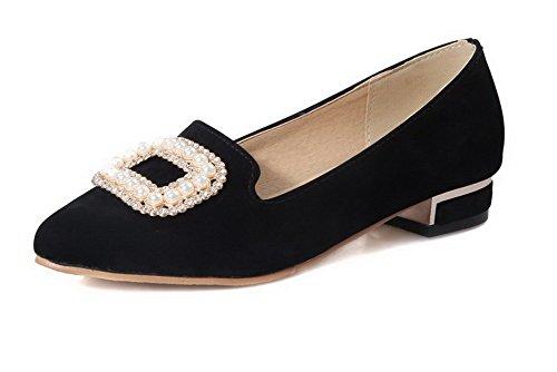 Damen Mikrofaser Rund Zehe Niedriger Absatz Ziehen auf Rein Pumps Schuhe, Schwarz, 35 VogueZone009