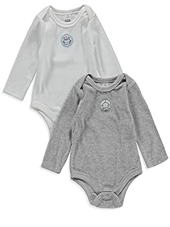 LC WAIKIKI Baby Boys' Velvet 2-Pack Long Sleeve Bodysuit with Snap Fasteners - 36m Ecru