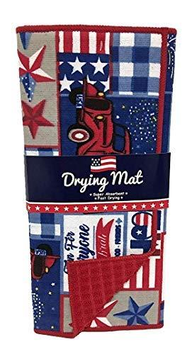 Patriotic Dish Drying Mat Reversible Summer Holidays Red Truck Decor