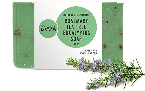 ROSEMARY TEATREE EUCALYPTUS Soap Bar, 100% Natural & Handmade, Moisturizing, Made with Pure Therapeutic Essentail Oils, Chemical free - 4.5 oz