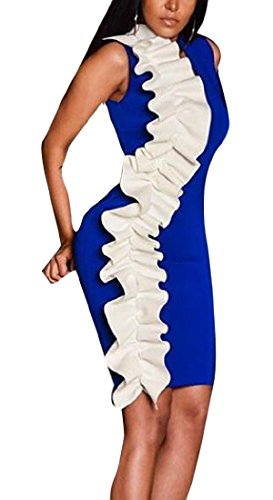Bodycon Women Slimming Ruffle Dress Contrast Colors Fashion Cromoncent Clubs Blue Sleeveless paqYZxwx