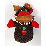 Home and Holiday Shops Reindeer Christmas Plush Pet Chew Toy with Squeaker Dog 8 Inch New