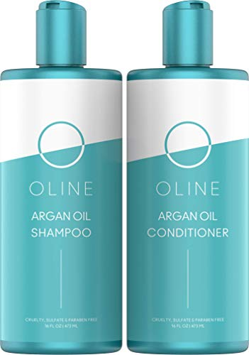 Oline Naturals Moroccan Argan Oil Shampoo & Conditioner Set - Sulfate free, (2 X 16 oz/473 ml) Moroccan Argan Oil Shampoo for Men and Women & Color Treated Hair & Hair Strengthener ()