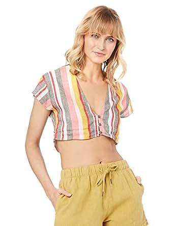 Rusty Women's Troublemaker Button UP Stripe Shirt, Blush, 10