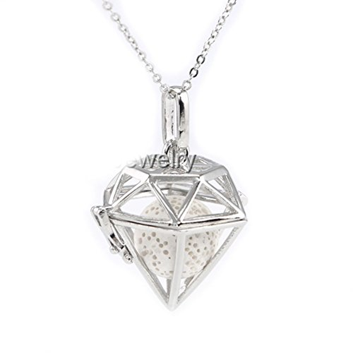 Sier Diamond Shaped Aromatherapy Essential Oil Diffuser Necklace Locket With Lava Stone (White) (Sier Oil)