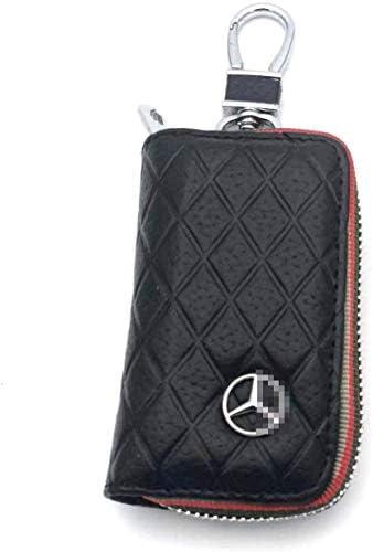 車のキーケース、プレミアムレザー車のキーチェーンコインホルダーファスナーケースリモート財布バッグ