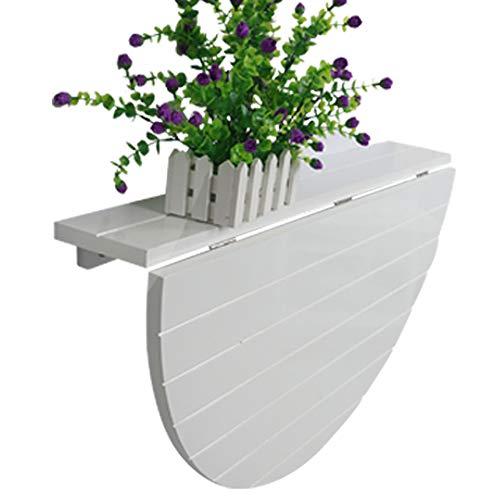 WQSQ Massivt trä halvcirkulär bord vit väggmonterad droppblad bord fällbart matbord barn bord skrivbord för små utrymmen modern enkelhet 80 x 40 cm