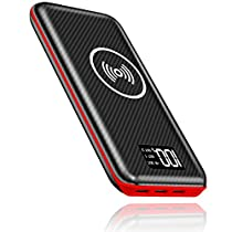 Portable Charger Power Bank, Kedron 24000mAh Wireless Charger with LED Digital Display and 3 Outputs & Dual Inputs External Battery Pack for iPhone X, iPhone 8, Samsung Galaxy S8 Note 8 and More