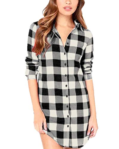 StyleDome Women Buffalo Check Plaid Long Sleeve Collar Neck Casual Button Down Tops Shirts Long Blouses Black White - Skirt Flannel Pencil