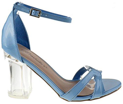 Breckelles Tango 05 Dames Transparant Strappy Chunky Heel Peep Toe Lucite Sandalen Poederblauw