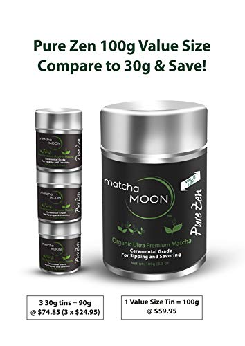 Matcha Moon - Organic Ceremonial Grade Japanese Matcha Green Tea Powder from Uji Kyoto Japan - Authentic, Premium, USDA Certified - Best For Traditionally Whisked Tea - Pure Zen - Value Size 100g Tin by Matcha Moon (Image #4)