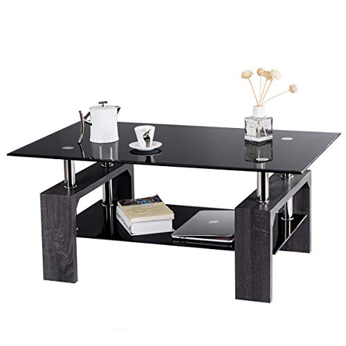 home & kitchen, furniture, living room furniture, tables,  coffee tables  image, Tangkula Glass Coffee Table Modern Simple Style Rectangular Wood Legs End Side Table Living Room Home Furniture with Shelf (Black) promotion3