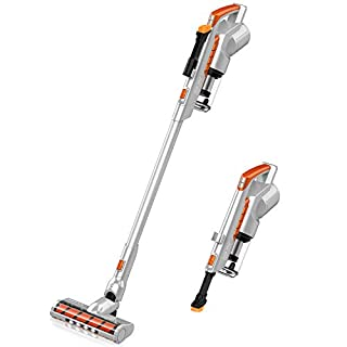 Cordless Vacuum Cleaner Lightweight, 200W Powerful Brushless Motor (Silver)