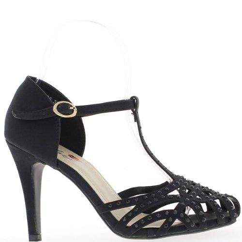 Scarpe aperto nero traforato con tacchi di 10cm